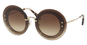 Miu Miu MU 10RS UES6S1 BROWN GRADIENTTRANSP GREY/FABRIC GLITTER SIL