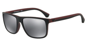 Emporio Armani EA4033 56146G LIGHT GREY MIRROR BLACKTOP BLACK ON BORDEAUX RUBBER