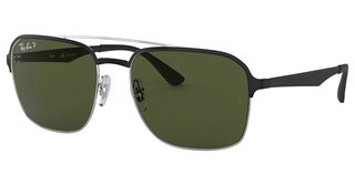 Ray-Ban RB3570 90049A DARK GREEN  POLARSILVER TOP SHINY BLACK